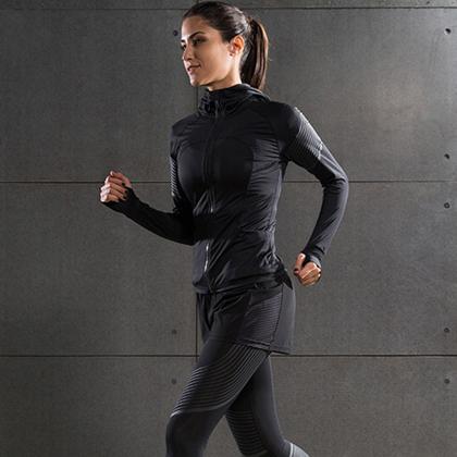 范斯蒂克 女款流光四件套 跑步套装 健身套装 浅灰流光(全季度跑步套装)