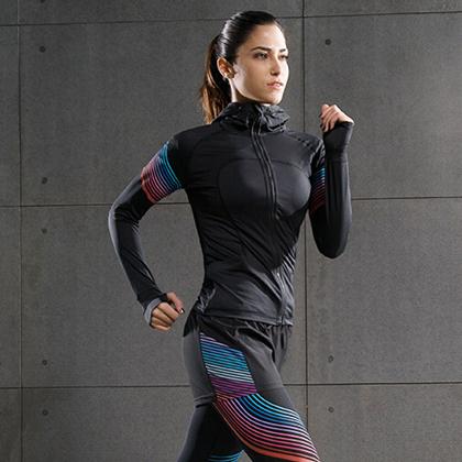 范斯蒂克 女款流光胸衣四件套 跑步套装 健身套装 红蓝流光(全季度跑步套装)
