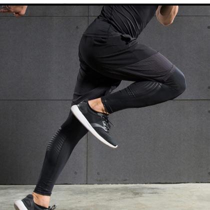范斯蒂克 男款下装两件套 宽松短裤 紧身裤 健身裤 浅灰流光(全季度跑步套装)