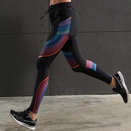 范斯蒂克 女款下装两件套 宽松短裤 紧身裤 健身裤 红蓝流光(全季度跑步套装)