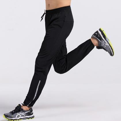 范斯蒂克 男款跑步长裤 速干长裤 健身裤MBF011 黑色带反光条(纯黑经典,时尚百搭)
