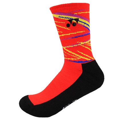尤尼克斯YONEX羽毛球袜 145017BCR-496男袜 红色(舒适透气,抗菌防臭)