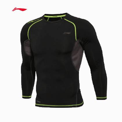 李宁紧身衣长袖 男款压缩衣长袖 篮球打底衫 足球跑步训练健身服 AUDL057-2 黑色