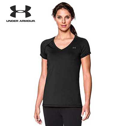 UA安德玛Under Armour HeatGear女款速干短袖T恤 1269102001黑色(干爽轻盈,婉若皮肤)