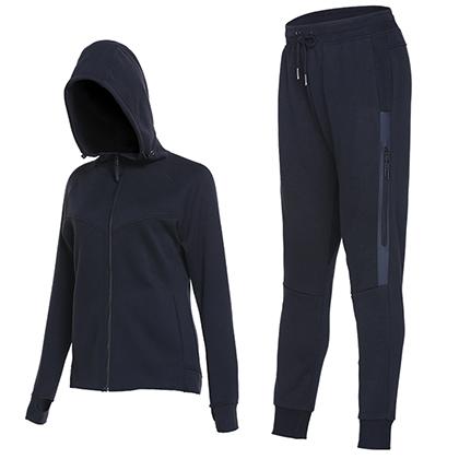 范斯蒂克 女款宽松运动服 健身服 卫衣两件套 黑色(挺括有型,舒适透气)