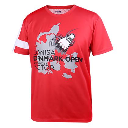 胜利VICTOR羽毛球服 T-70050D 男/女款红色圆领T恤(2017丹麦公开赛纪念款)