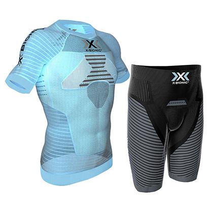 X-BIONIC 效能系列 跑步紧身套装短袖短裤 男 XT002059 蓝色/黑色(3D恒温,间歇压缩)
