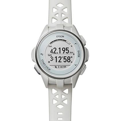 EPSON 爱普生 PROSENSE GPS铁三级水下光电心率手表 J-300沙地白(20小时超马续航,高精准心率监测)