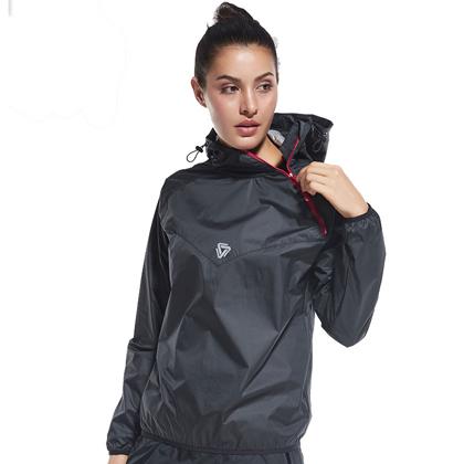 范斯蒂克 女款跑步外套 健身服 发汗服 FBF714801 黑色(燃烧脂肪,健身塑性)