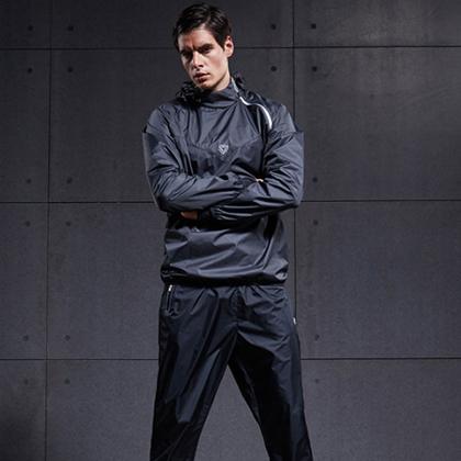 范斯蒂克 男款跑步套装 健身服 发汗服 黑色(燃烧脂肪,健身塑型)
