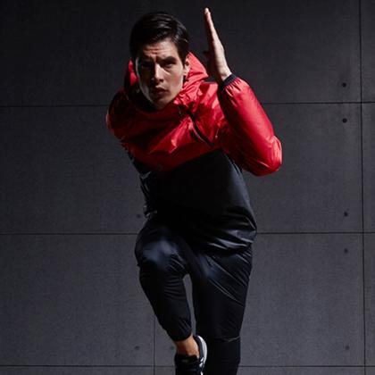 范斯蒂克 男款跑步套装 健身服 发汗服 红/黑(燃烧脂肪,健身塑型)
