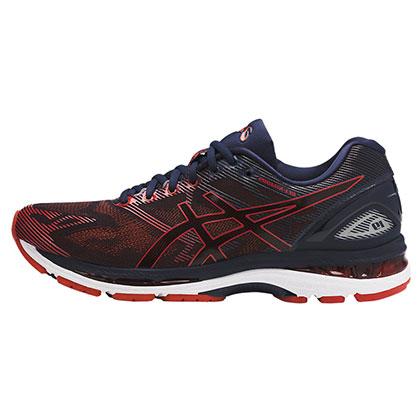 亚瑟士ASICS 男款跑鞋GEL-NIMBUS 19缓震慢跑鞋  T700N-5806 红/深蓝(强力缓震,稳定支撑)