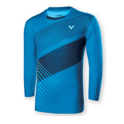 胜利VICTOR羽毛球服比赛服羽毛球运动服 圆领长袖T恤 T-75100M 夏威夷蓝 男女通用中性款