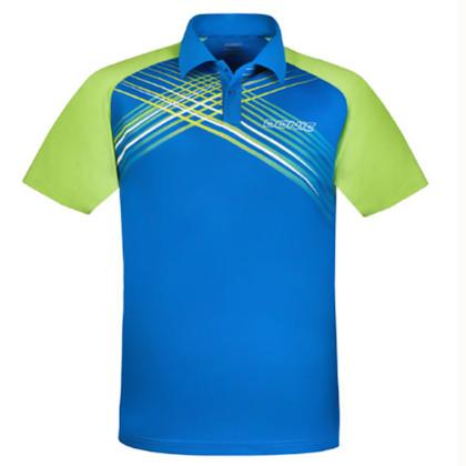 多尼克 83681-176翻领短袖乒乓球服男女比赛运动服短袖球衣服 湖蓝/绿色
