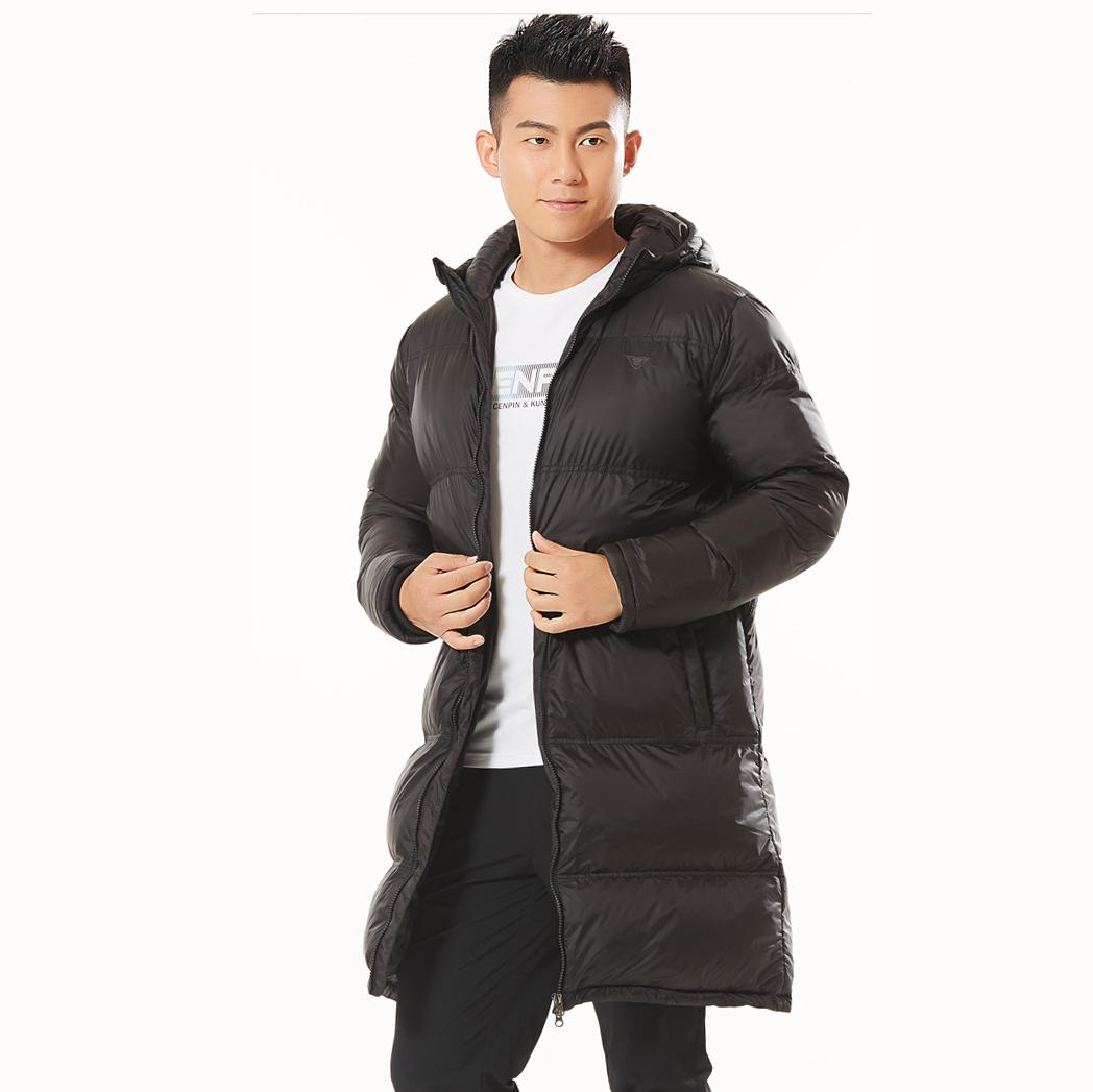 CENPIN/诚品 冬季新款运动保暖棉服男中长款加厚运动大衣冬季户外训练服 黑色黑色