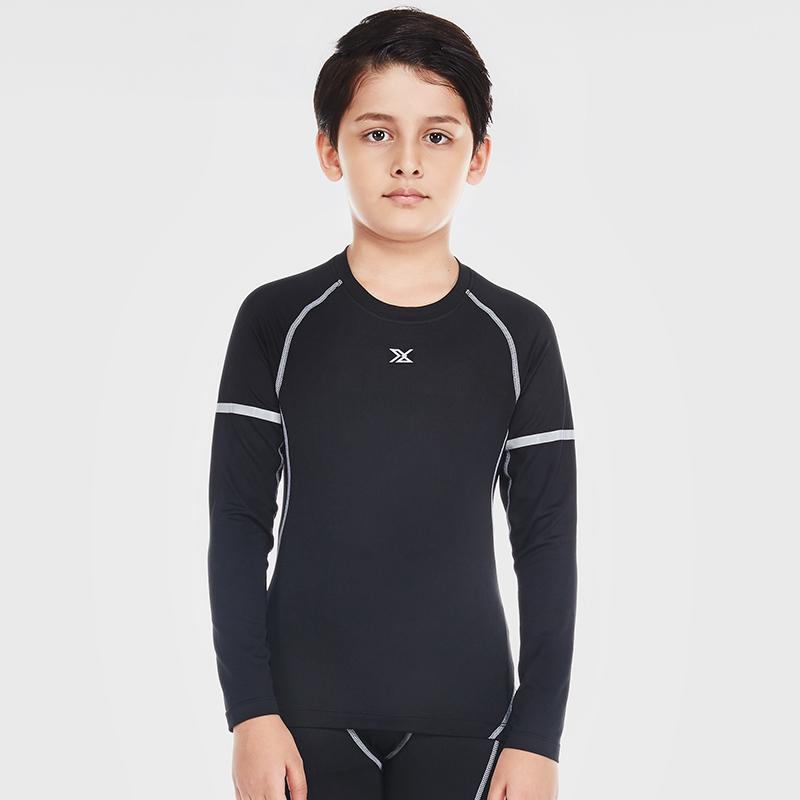 范斯蒂克 儿童紧身衣男长袖弹力运动跑步训练打底速干衣 B70103 黑色灰线