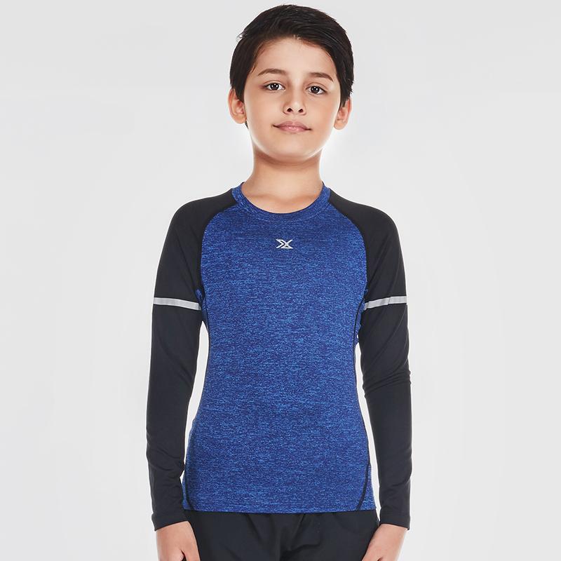 范斯蒂克 儿童紧身衣男长袖弹力运动跑步训练打底速干衣 B70104 花灰蓝