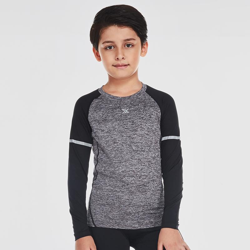 范斯蒂克 儿童紧身衣男长袖弹力运动跑步训练打底速干衣 B70105 花灰黑