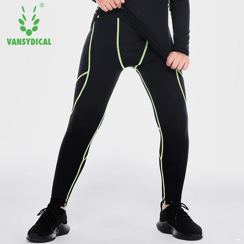 范斯蒂克 儿童紧身裤男运动打底裤跑步训练裤排汗速干压缩弹力健身长裤 B70201 黑色绿线