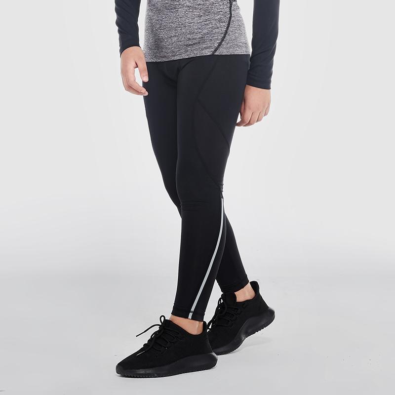 范斯蒂克 儿童紧身裤男运动打底裤跑步训练裤排汗速干压缩弹力健身长裤 B70202 黑色黑线