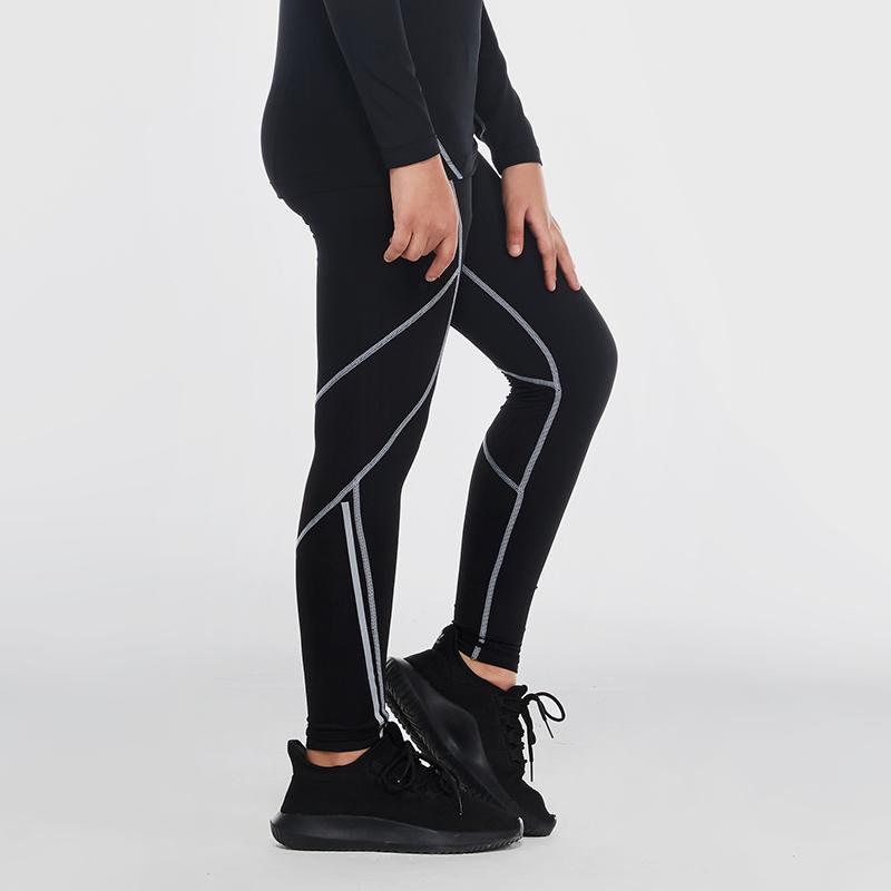 范斯蒂克 儿童紧身裤男运动打底裤跑步训练裤排汗速干压缩弹力健身长裤 B70203 黑色灰线