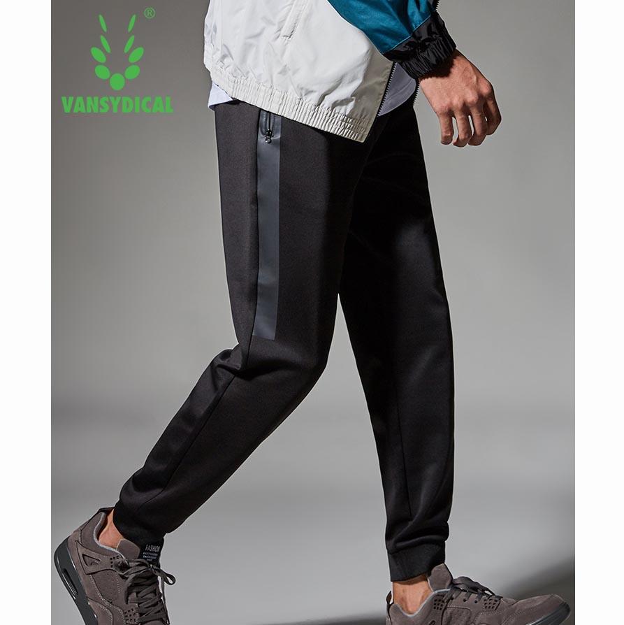 范斯蒂克 运动裤男秋冬款 针织收口卫裤 黑色竖边束脚长裤 MBF9009