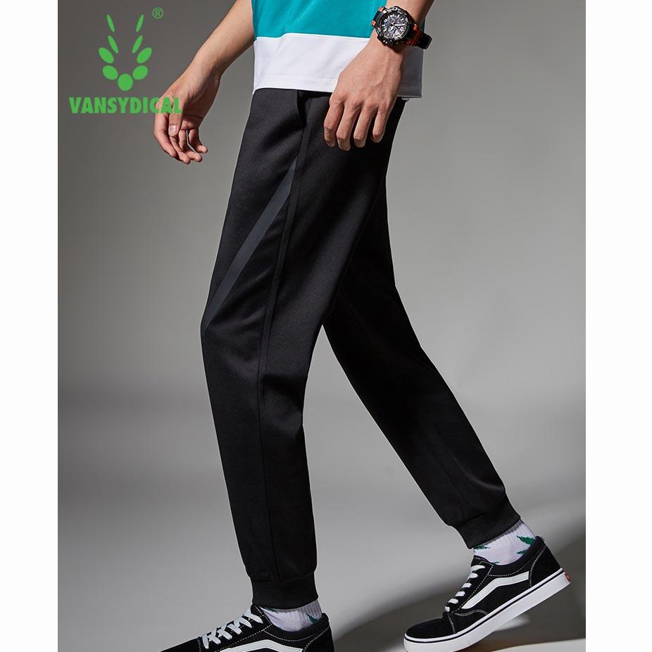 范斯蒂克 运动裤男秋冬款针织收口卫裤 黑色斜边束脚长裤 MBF9012