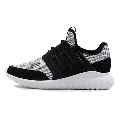 阿迪达斯Adidas三叶草小椰子跑鞋 Tubular Radial男款跑步鞋 1号黑色/亮白(经典简约,脚感舒适)