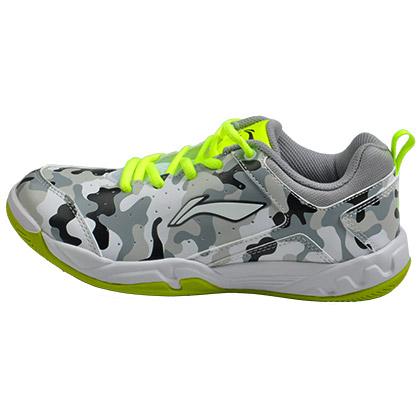 李宁 羽毛球鞋 AYTM084-1 儿童款 迷彩训练鞋 凝雪灰/荧光亮绿 耐磨防滑,全PU鞋面,透气性好!