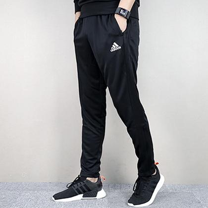 Adidas 阿迪达斯 男款运动长裤 春秋薄款针织运动休闲健身跑步长裤 BS0526 黑色