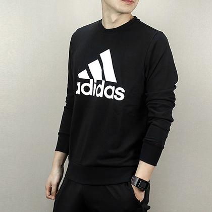 Adidas 阿迪达斯 男款运动卫衣 新款长袖跑步上衣 CD6275 黑色(针织面料,宽松舒适)