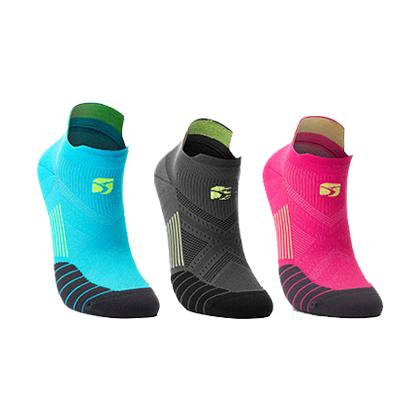 领速专业跑步袜 马拉松跑步袜 机能运动袜 湖蓝/玫红/深灰(3双装)(抗菌抑臭防起泡)