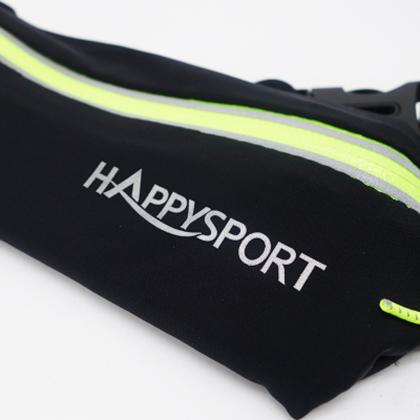 HappySport悦动 马拉松/越野跑步腰包 超轻弹力便携腰包 黑色(4个能量胶插槽,含号码簿挂扣)