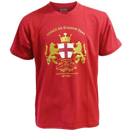 尤尼克斯YONEX T恤衫 YOB18001EX 男款 红色 (全英公开赛纪念T恤衫)