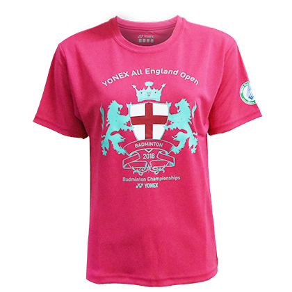 尤尼克斯YONEX T恤衫 YOB18002EX 女款 亮粉色 (全英公开赛纪念T恤衫)