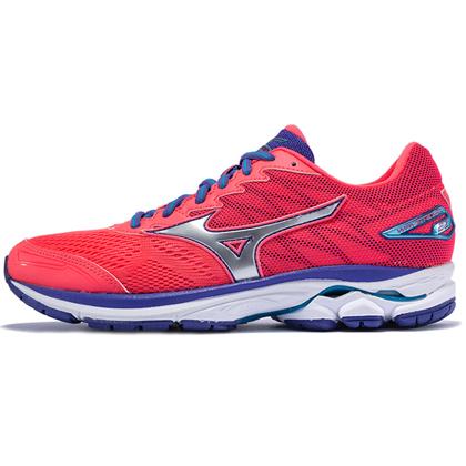 MIZUNO美津浓 WAVE RIDER 20 女款跑步鞋 J1GD170304 荧光粉/银/葡萄紫(畅销缓震跑鞋)