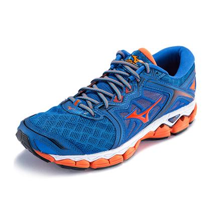 Mizuno美津浓 WAVE SKY 男款缓震跑鞋 J1GC170254 蓝/橙红/黑(空气感拥抱技术,完美贴合)