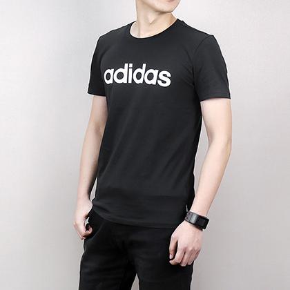 Adidas 阿迪达斯 男款运动T恤 短袖上衣 CV9315 黑色(简约LOGO,经典百搭)
