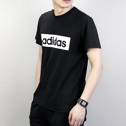 Adidas 阿迪达斯 男款运动T恤 短袖上衣 DT2588 黑色(排汗透气,亲肤舒适)