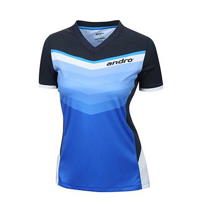 岸度Andro乒乓球服 17新款女式T恤 302364 蓝白色吸湿排汗