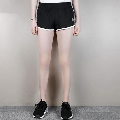Adidas 阿迪达斯 女款运动短裤 跑步短裤 CE2014 黑色(经典三条纹设计)