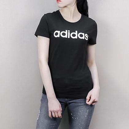 Adidas 阿迪达斯 全棉女款运动T恤 短袖上衣 CV7026 黑色(简约LOGO,经典时尚)