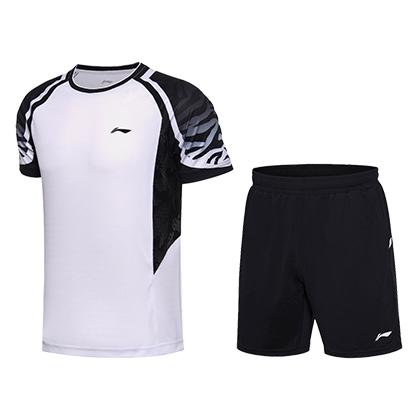 李宁套装羽毛球服 AATN013-1 男款比赛套装 清爽白 速干凉爽