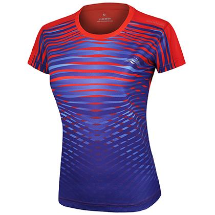 波力Bonny羽毛球服 1CTL18030 女款 紅色 (創意虎紋數碼,富有層次感)