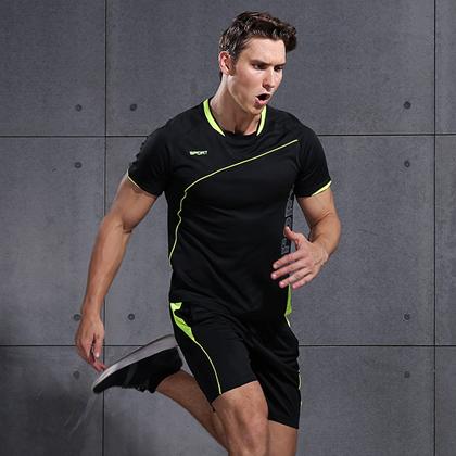 范斯蒂克 男款短袖跑步服 速干运动套装 XLF018 黑色(排汗速干,清爽舒适)