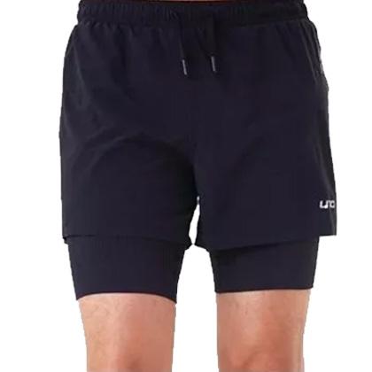 UTO悠途 男款跑步短裤 锐能款二合一压缩短裤2.0 977103 黑色(分区压缩,排汗透气)