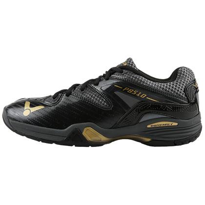 VICTOR 羽毛球鞋 P8510-CX 黑/亮金 脚感扎实 支撑稳定