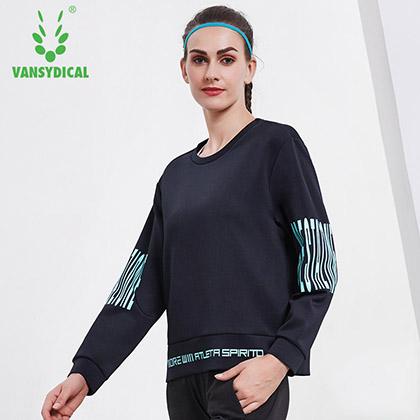 范斯蒂克vansydical 运动卫衣女秋冬长袖圆领宽松休闲套头衫 FD1820201 深蓝色 字母印花