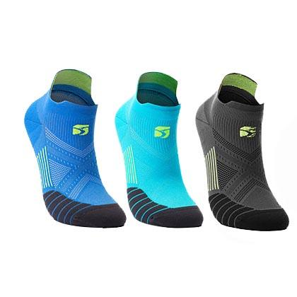 HappySport悦动 专业跑步袜 马拉松跑步袜 机能运动袜 蓝色/湖蓝/灰色(3双装)(抗菌抑臭防起泡)