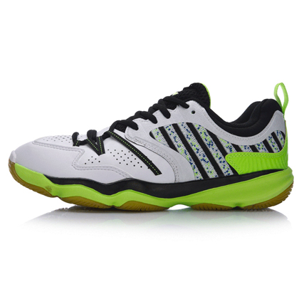 李宁羽毛球鞋 AYTM081-4 男款 标准白/荧光嫩绿(变色龙战靴TD版)